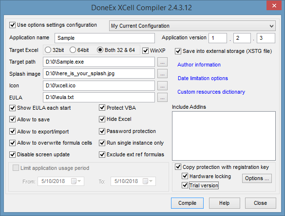 XCell Compiler also known as Excel to Exe converter